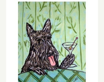 25% off Scottish Terrier at the Martini Bar Dog Art Print
