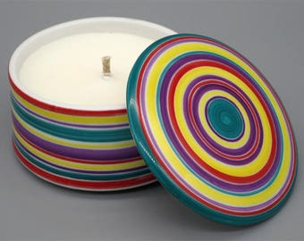 Satellite - Scented candle in hand painted porcelain box - multicolored band design