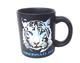Vintage Cincinnati Zoo Coffee Mug White Tiger Black Ceramic Cup Illustrated Graphic Art Animal Face Cartoon Lion Souvenir Epsteam Gift
