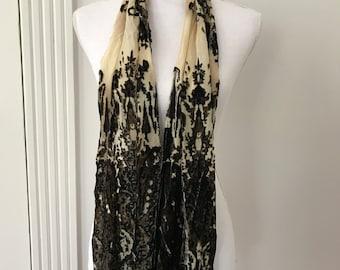 Vintage Accessories, Silk Rayon Cut Velvet Scarf, Black Tan Oblong Scarf, Long Scarf, Silk Scarf, Fringe Scarf, Vintage Scarf, Rayon Scarf
