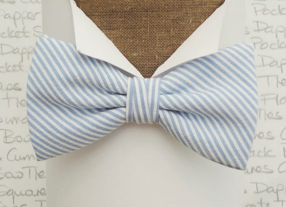 Bow ties for men, blue and white stripe bow tie, self tie or pre tied bow tie
