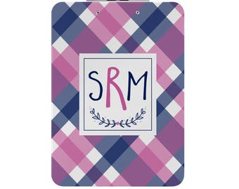 Personalized Clipboard - Double Sided -Mad About Plaid