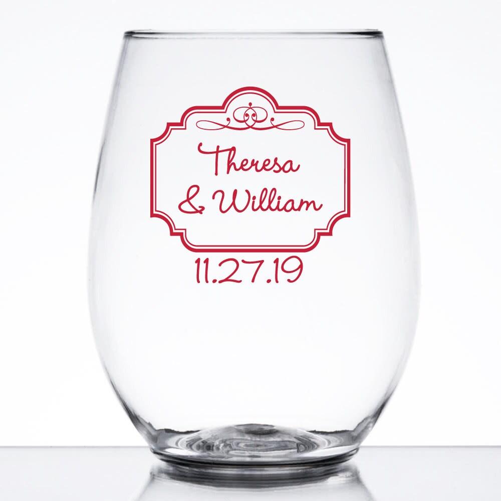 24 pcs Elegant Border Personalized 9 oz Stemless Wine Glass