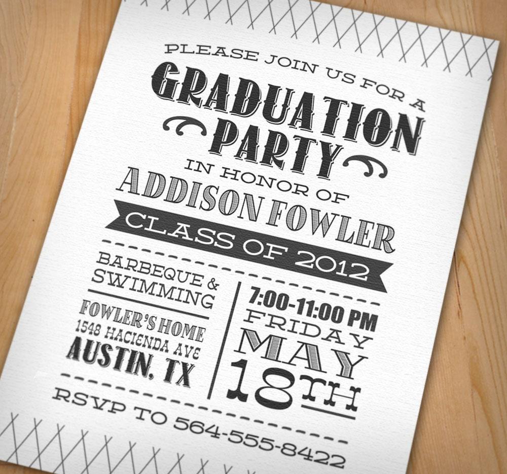 LETTERPRESS Graduation Party Printable Invitation