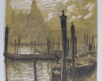 Pierre Gusman (1862-1941): The Salute in Venice - [etching, chisel and wood engraved monochrome]