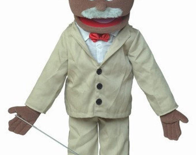 """New PUPPET! BIG 25"""" Professional Puppet - Grandpa, Pastor, Businessman, Old Man - Full Body Muppet Mouth Puppet with Arm Rod"""