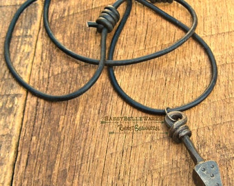Mens Spear Leather Necklace rustic rocker rugged vibe viking nordic medieval black forged steel adjustable long length