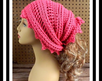 Hot Rose Pink Crochet Head Scarf Wrap, Headscarf Wrap, Head Wraps for Women, Lauren Hot Rose Pink Scarf, Head Scarf Hair Wrap