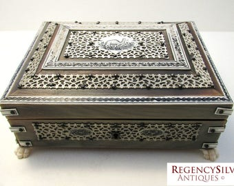 Rare Buffalo Horn Indian Antique VIZAGAPATAM Trinket Jewelry Box Casket. Victorian/Edwardian. 19th-century