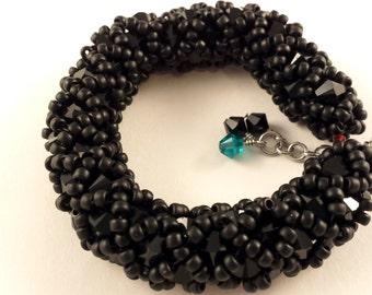 Black Netted Bracelet With Swarovski Crystals