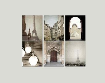 SALE, Paris Prints, Beige, Brown, Neutral, Rustic, Paris Photography, Set of 6 Photos