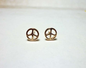 Peace Sign Stud Earrings, Dainty Earrings