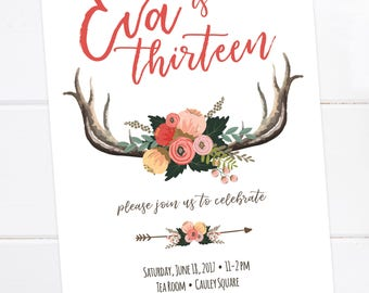 Boho Birthday Invitation, Aztec Tribal Invitation, Bohemian Printable Invitation, Dream catcher, Boho, Sweet 16, Teen Birthday, Tween