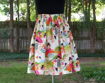 Japanaese Full Gathered Floral Skirt