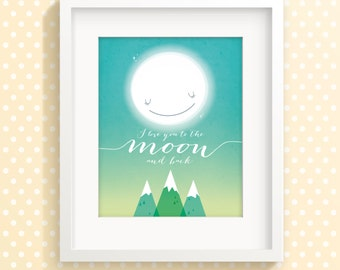 Nursery art print, nursery decor, childrens art, nursery print, I love you to the moon and back, baby room art, baby gift, kids room