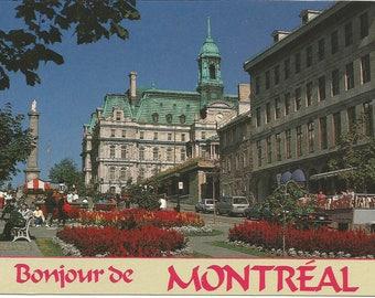 Vintage 1980s Postcard Montreal Quebec QC Canada l'Hotel de Ville City Hall Place Jacques Cartier City View Card Photochrome Postally Unused
