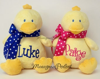 Personalized, Monogrammed Yellow Plush Duck