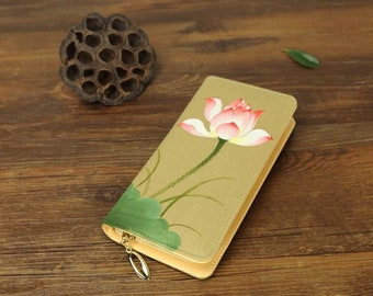 hand painted flower  and butterfly wallet