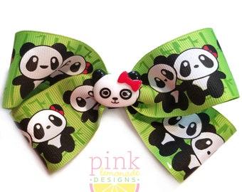Cute Panda Couple Zoo Hair Bow