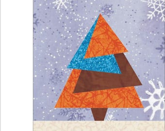 Christmas Tree #2 Paper pieced quilt block  PDF Pattern INSTANT DOWNLOAD
