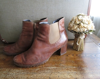 Vintage GABOR Chelsea Ankle Boots in Cognac Brown Genuine Soft Leather Distressed Leather Boho Bohemian Hippie Grunge Booties Size 7 Uk