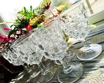 SIX water goblets, block optic, heavy  stemmed glassware, set of 6, wine / water glasses