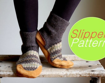 Slippers Sewing Pattern Tutorial PDF for Women & Men, Women sizes 6.5, 8, 9.5, Men sizes 10, 11.5, 13