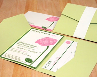 SAMPLE All You Need is Love Rose Wedding Pocketfold Invitations, Pink, Green, Red, Black, White, Rustic and Modern
