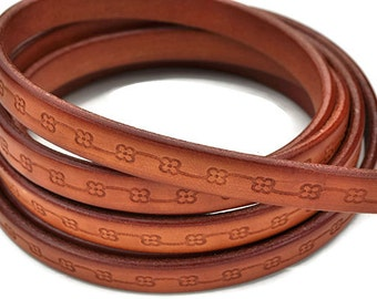 "15MM Floral Loop Leather Cord - Cognac - Premium Quality Leather Cord - 8"" - Made in EU"