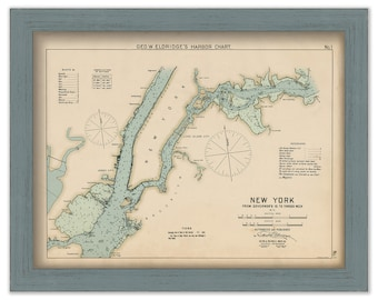 New York City - Nautical Chart by George W. Eldridge 1901 Colored Version 0301