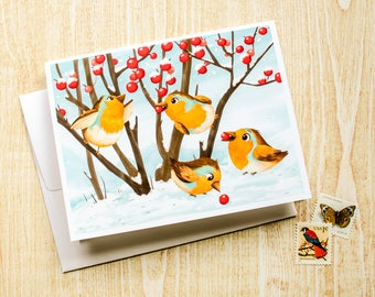 European Robin, Bird Greeting Card, Blank Card - Cute Card - Animal Card - Just Because - Any Occasion - Illustrated