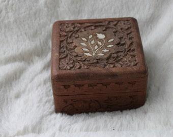 Carved Wood Inlaid Trinket / Jewelry Box