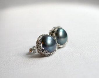 Gray pearl earrings, bridesmaid gift, gray pearl studs, silver crochet earrings, silver pearl studs
