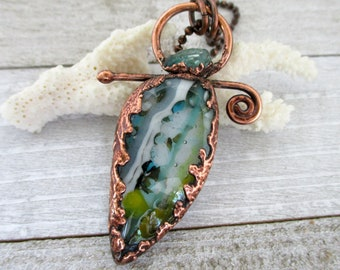 Breaking Waves Necklace, Fused Art Glass & Apatite , Copper Electroformed, Copper Chain