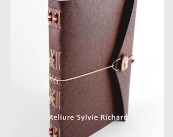 Travel book in brown leather - personal diary -  soft bookbindings for sketches, drawings, poems, stories, calligraphy ...  Blank book.