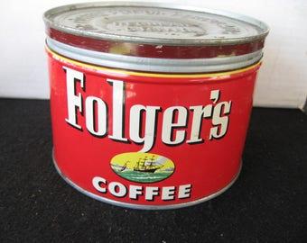 Vintage Collectible Folger's Coffee Tin -Keywind-original lid