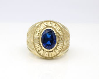 14k Solid Gold Simulated Sapphire Men's Air Force Military Ring