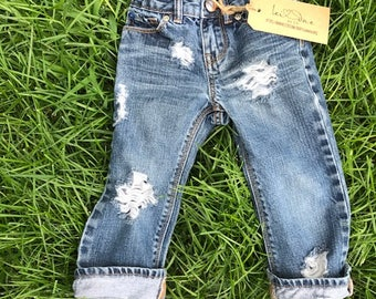 Distressed jeans for babies and toddlers