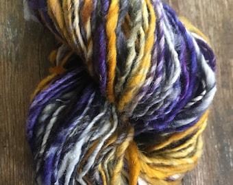 Where It's At - handspun light bulky yarn, 144 yards, bulky yarn, rustic art yarn, chunky yarn, wool handspun yarn
