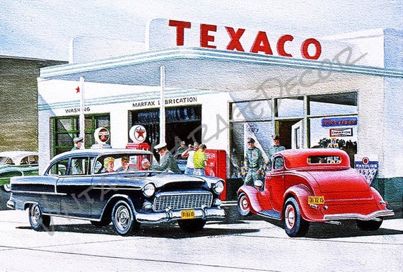 Jack Schmitt Chevy >> Texaco Gas Station 1955 Chevy and Deuce Coupe Automobile