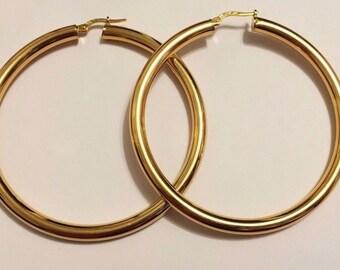 "14k solid yellow gold(4mm)Italian tube hoop earrings(2""inch)"