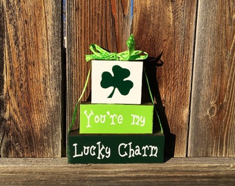 St. Patrick's day blocks, You're my lucky charm wood blocks, shamrocks