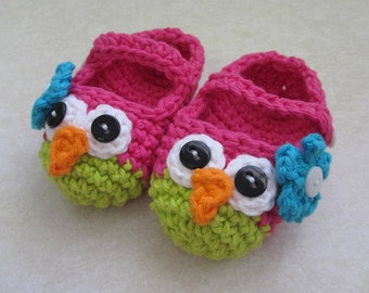 Baby Owl Booties Mary Jane Slippers