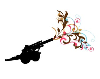 Artillery silhouette firing a barrage of color