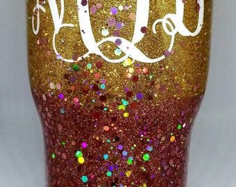 Rose Gold with Gold Ombre Chunky Glitter Themed Tumbler with Personalization Cup/Tumbler/Mug