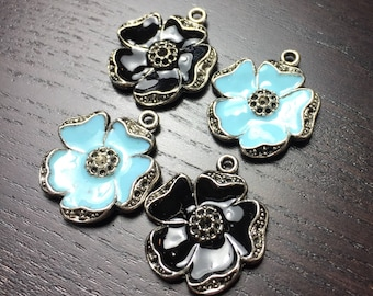 Pastel Blue and Black Enamel Poppy Flower Pendants -- Set of 4
