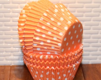 NEW - Peach Solid & Polka Dot Cupcake Liners (Qty 50) Peach Cupcake Liner, Peach Baking Cups, Peach Muffin Cups, Cupcake Liners, Baking Cups