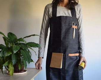 DENIM APRON with LEATHER. Japanese Style, cross back. Pinafore. Handmade Smock for Florists, Gardeners and Kitchen. Soft and durable.