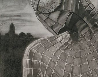 Spiderman Drawing, Graphite and Charcoal, Marvel, Spiderman Homecoming, Poster