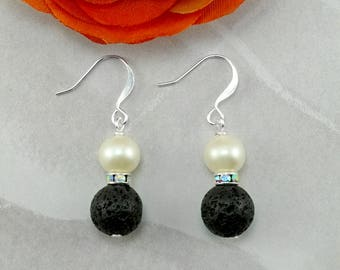 White Freshwater Pearl and Black Lava Beaded Earrings